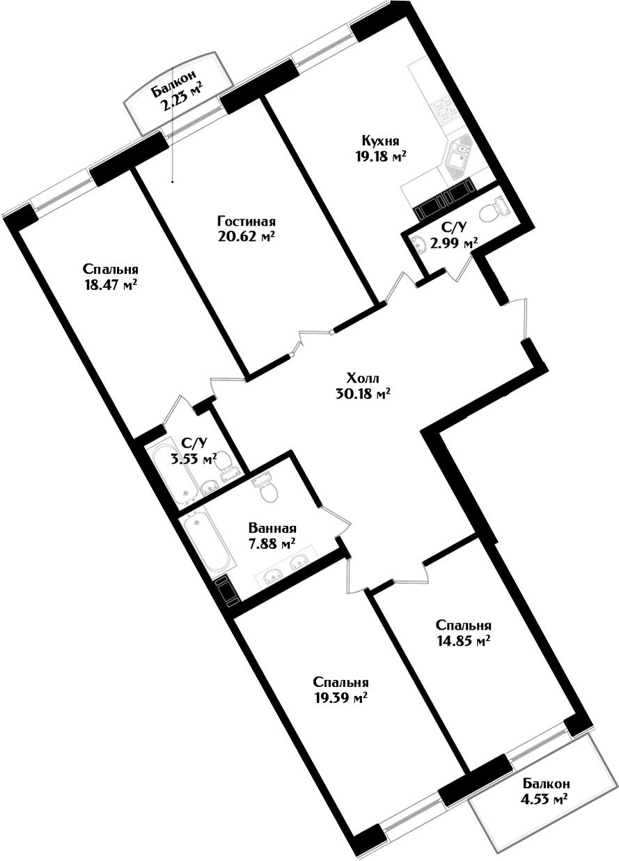 5Е-комнатная, 139.12 м²– 2