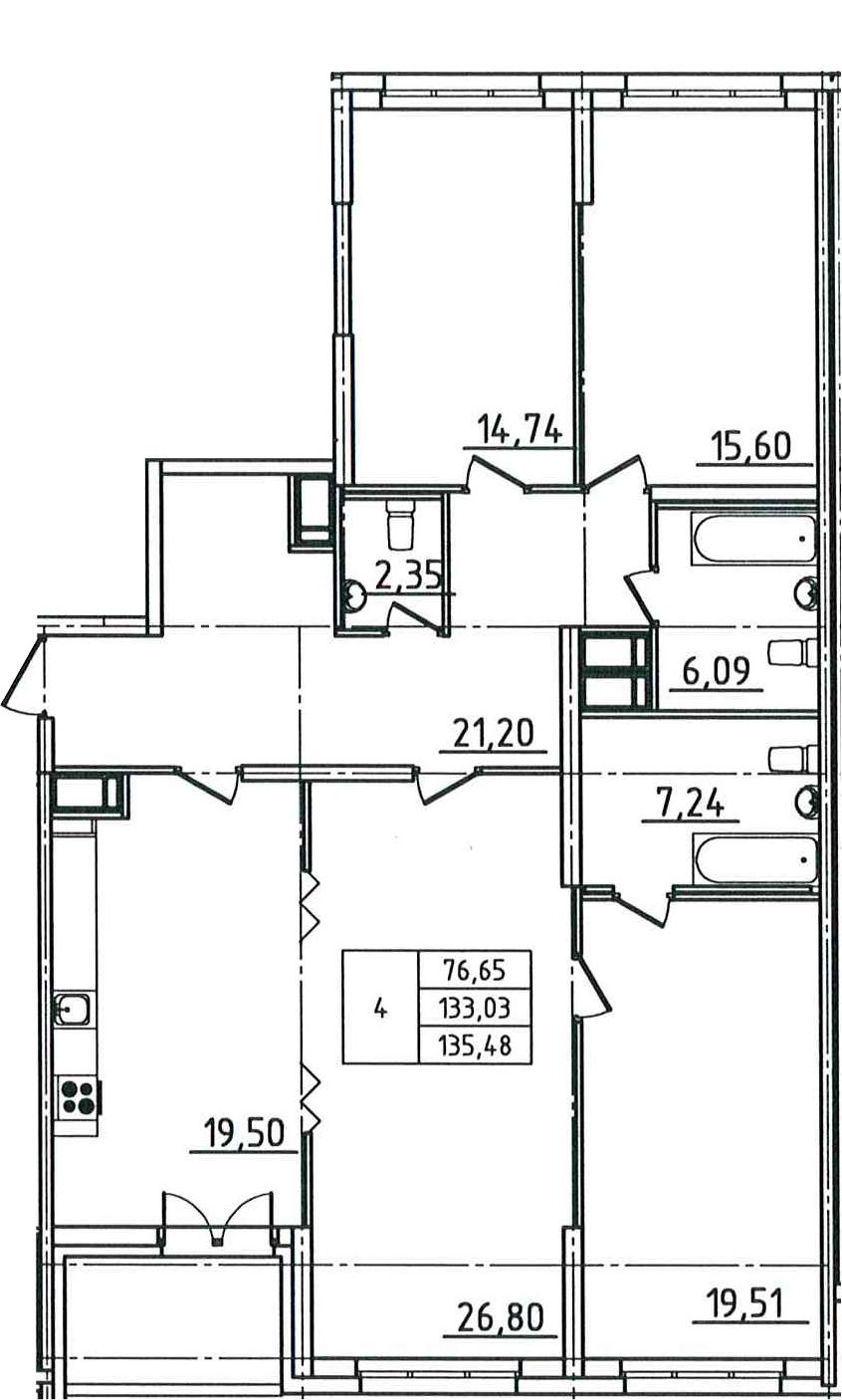 5Е-комнатная, 135.48 м²– 2