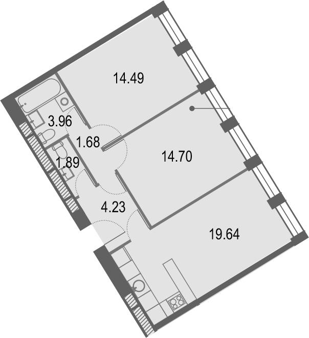 3Е-к.кв, 60.59 м², от 25 этажа
