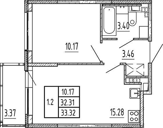 2Е-к.кв, 32.31 м², 4 этаж