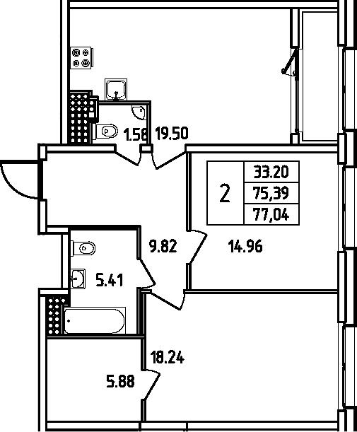 3Е-комнатная, 77.04 м²– 2