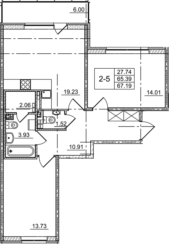 3Е-комнатная, 65.39 м²– 2