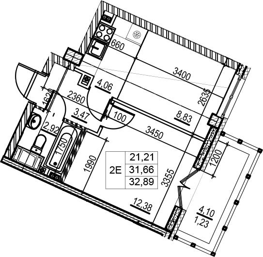 1-комнатная, 32.89 м²– 2