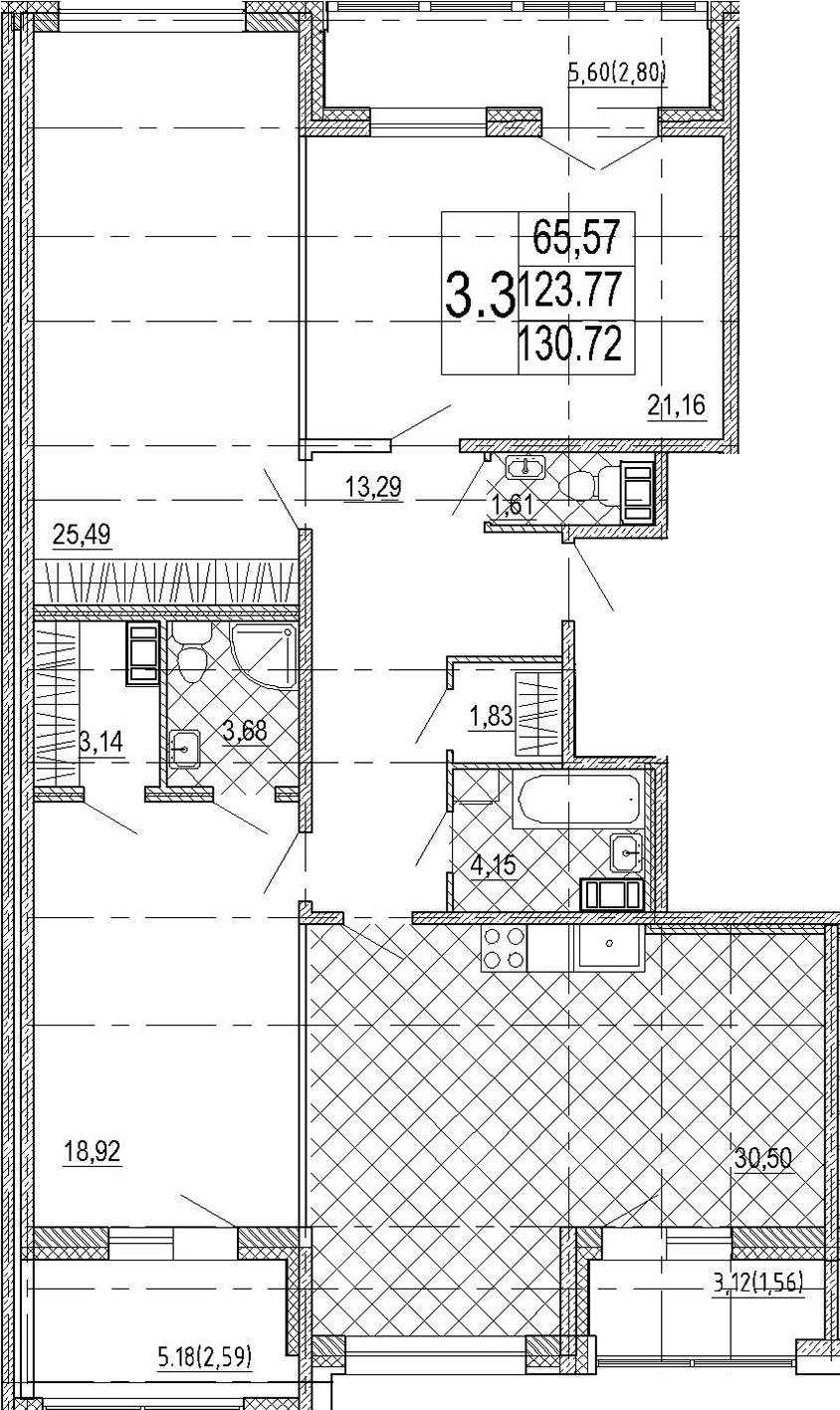 4Е-комнатная, 130.72 м²– 2