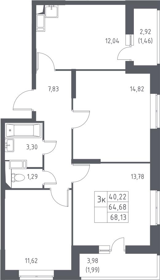 3-к.кв, 68.13 м²