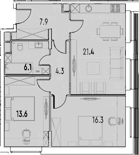 3Е-к.кв, 69.6 м²
