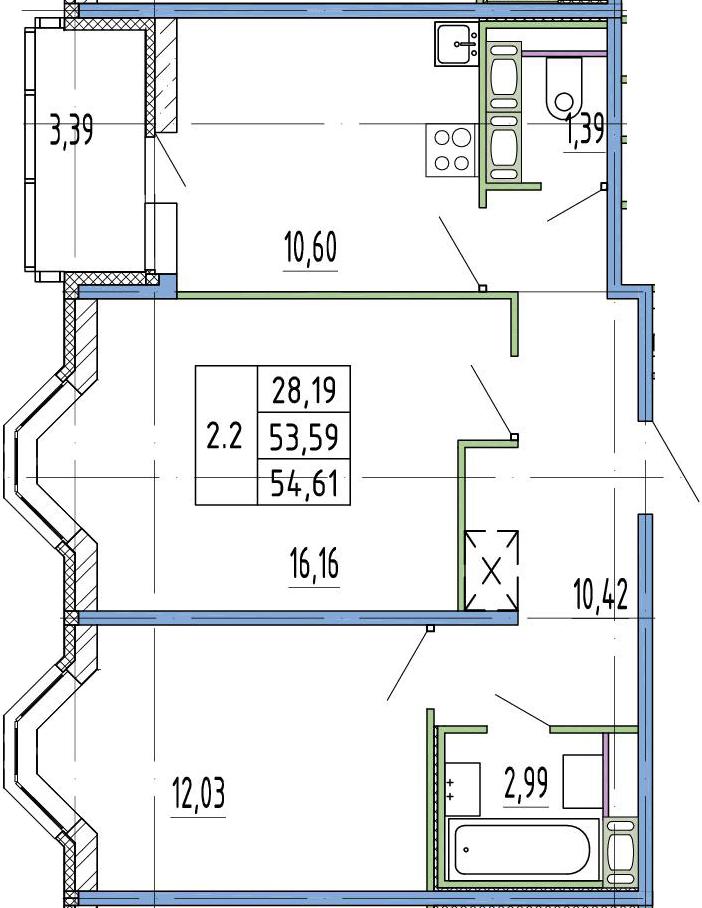 2-к.кв, 53.59 м²