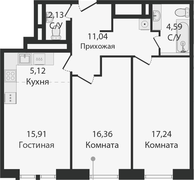 3Е-комнатная, 72.38 м²– 2