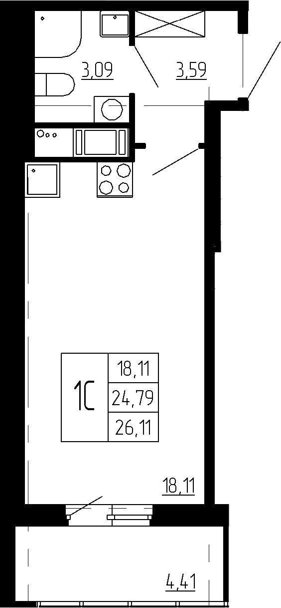 Студия, 24.79 м², 12 этаж – Планировка