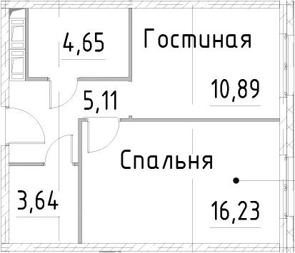 1-к.кв, 40.51 м², 21 этаж