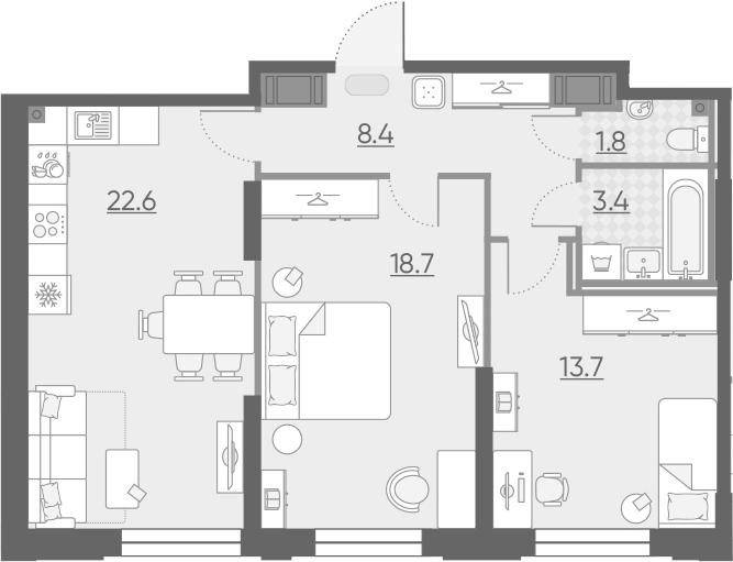 3Е-к.кв, 68.6 м², 3 этаж