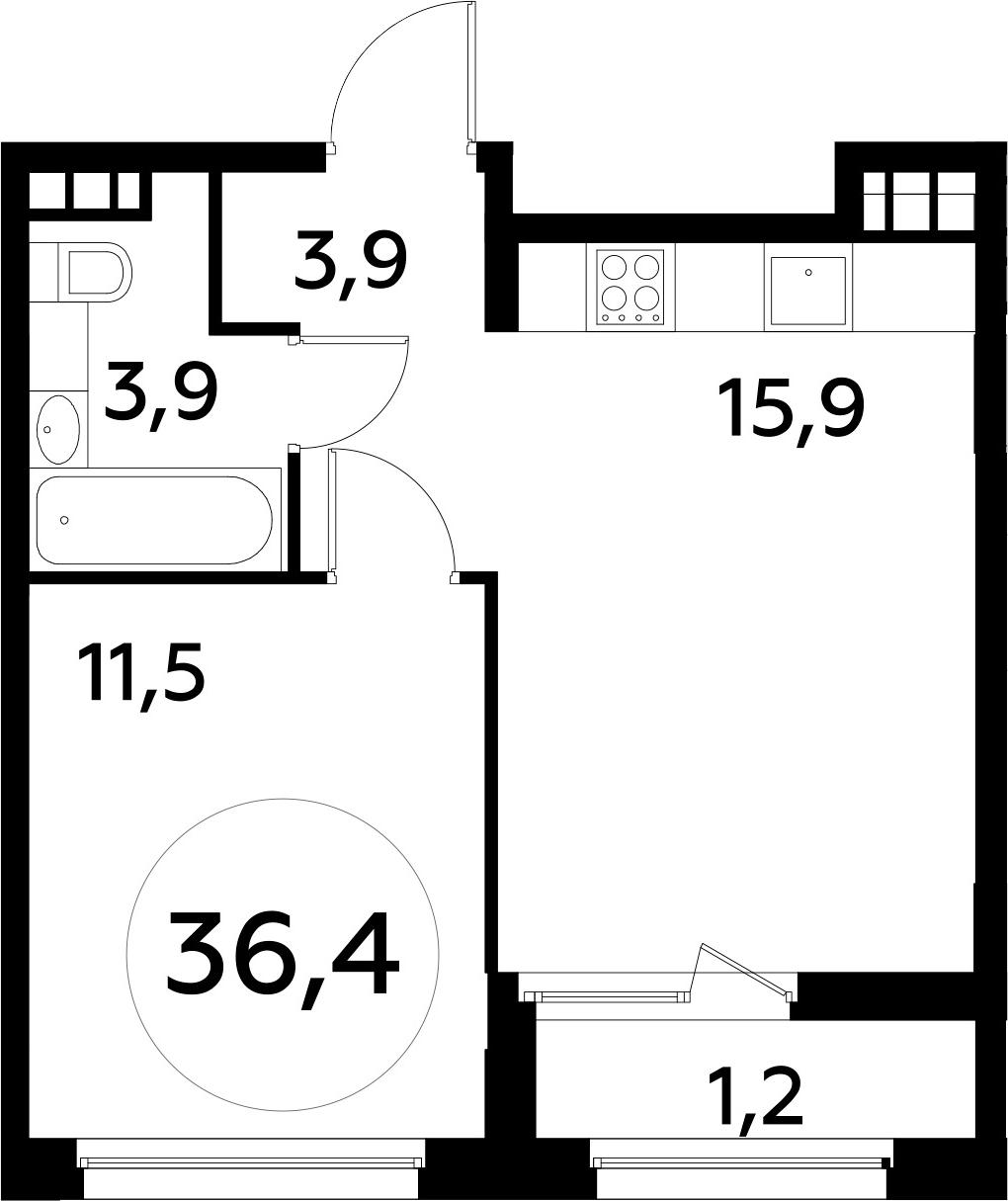 2Е-к.кв, 36.4 м²