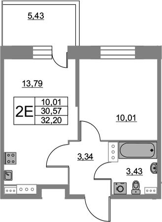 2Е-к.кв, 32.2 м², от 3 этажа