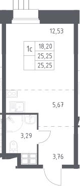 Студия, 25.25 м²– 2