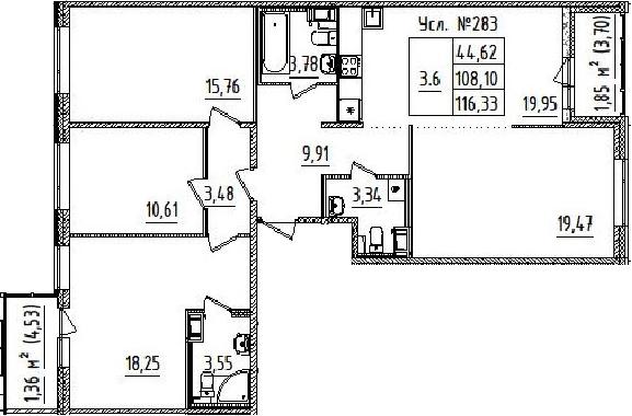 4Е-комнатная квартира, 108.1 м², 14 этаж – Планировка