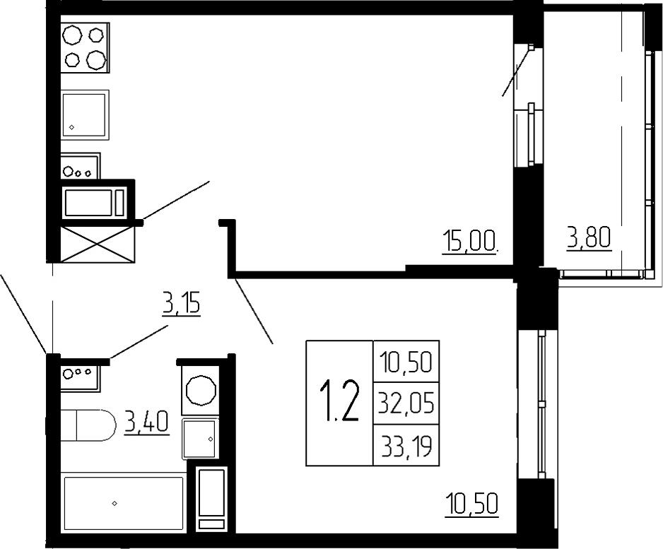 2Е-к.кв, 32.05 м²