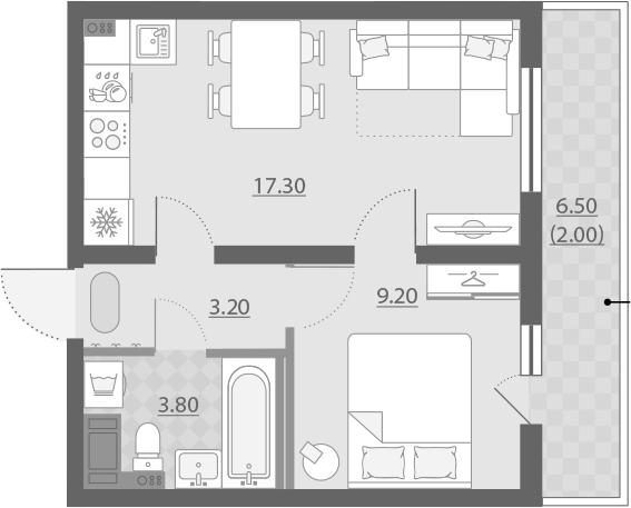 2Е-к.кв, 36 м²