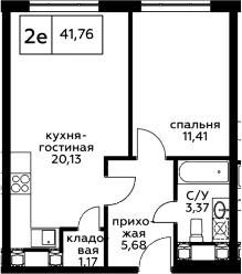 2Е-комнатная квартира, 41.76 м², 24 этаж – Планировка