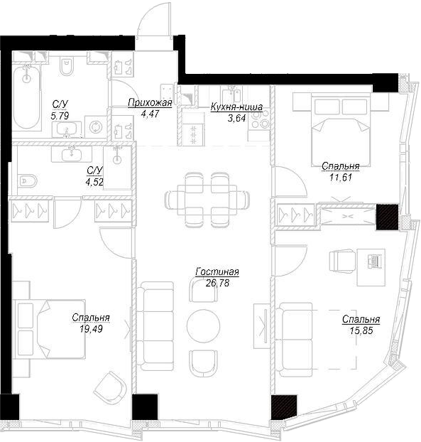 4Е-комнатная, 92.18 м²– 2