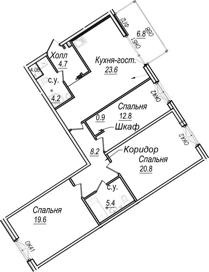 4Е-к.кв, 102.2 м²