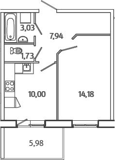 1-комнатная, 38.67 м²– 2