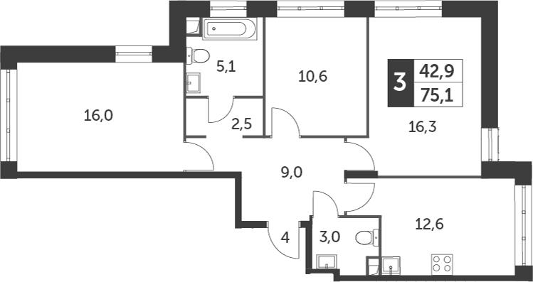 3-к.кв, 75.1 м²