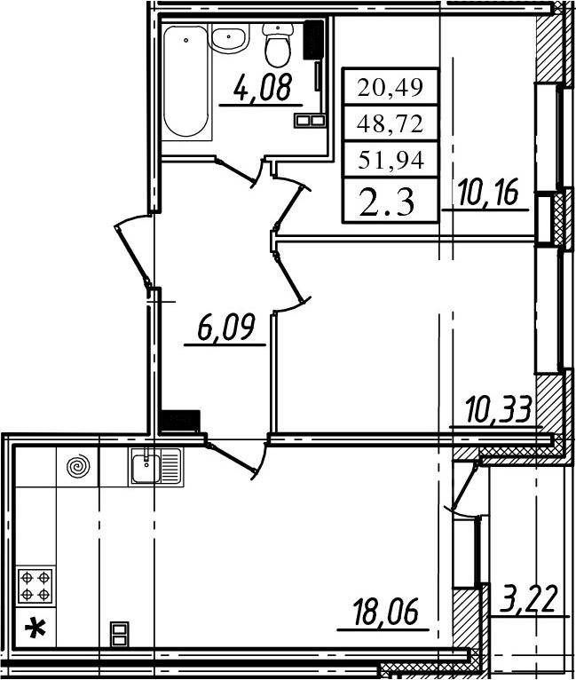 3-к.кв (евро), 51.94 м²