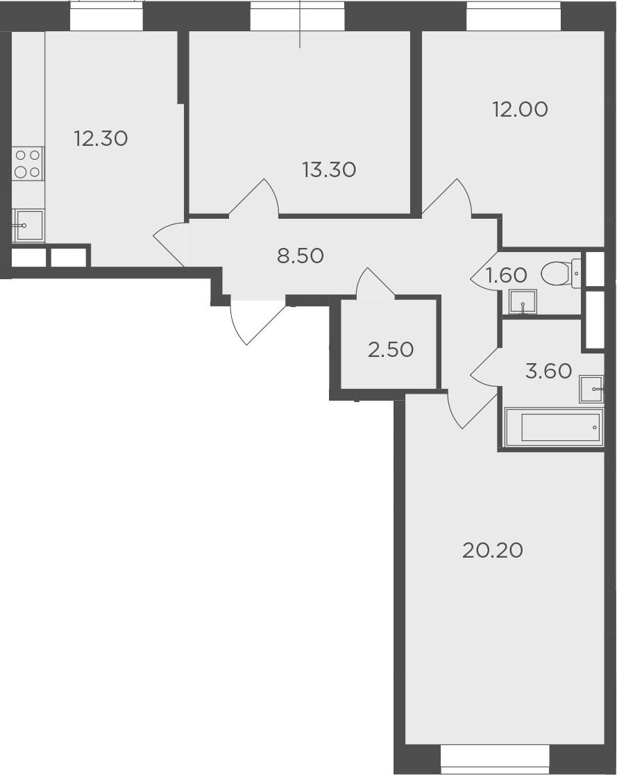 3-комнатная, 74 м²– 2