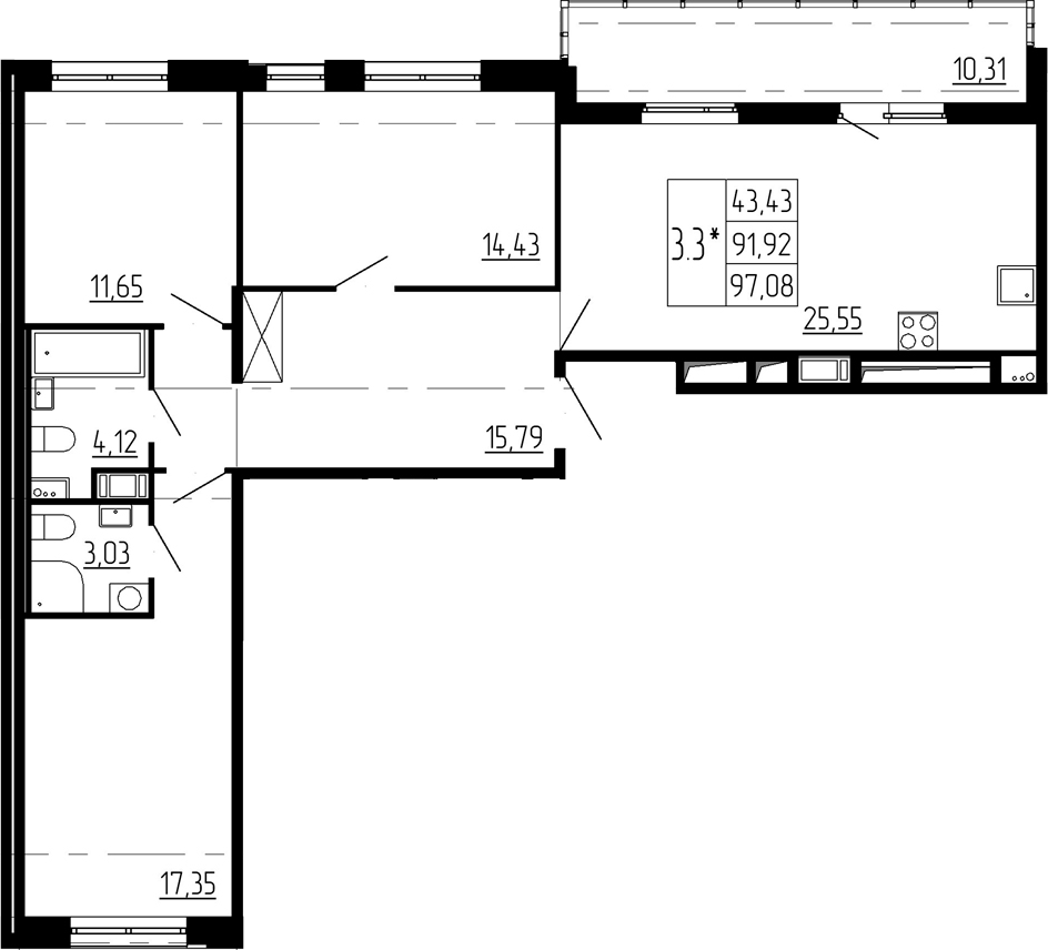 4Е-комнатная, 91.92 м²– 2