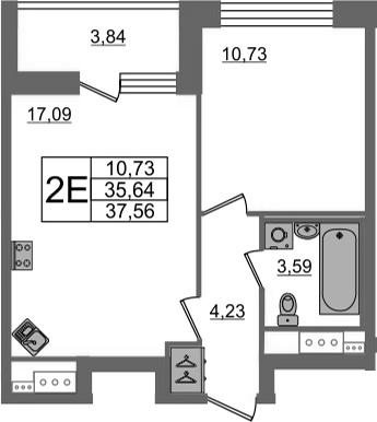 2-к.кв (евро), 39.48 м²