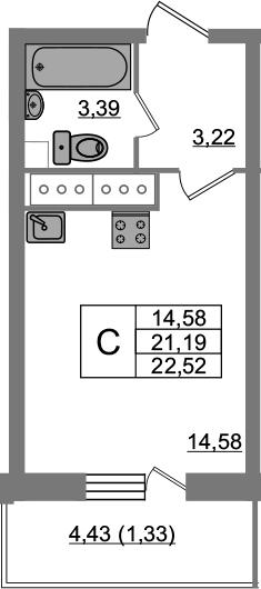 Студия, 22.52 м², 22 этаж