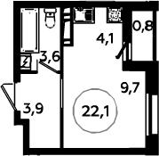 Студия, 22.9 м²