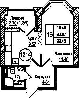 1-к.кв, 33.42 м²