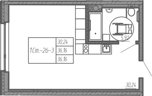 Студия, 36.16 м²– 2