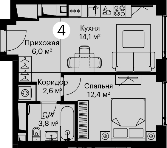 1-комнатная, 38.9 м²– 2