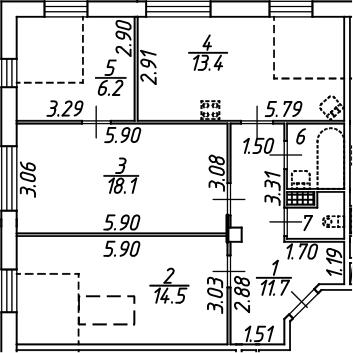 3-комнатная, 68.6 м²– 2