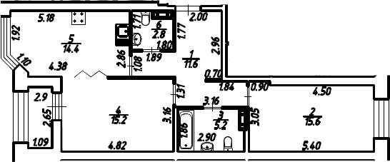 2-к.кв, 66.3 м², 3 этаж