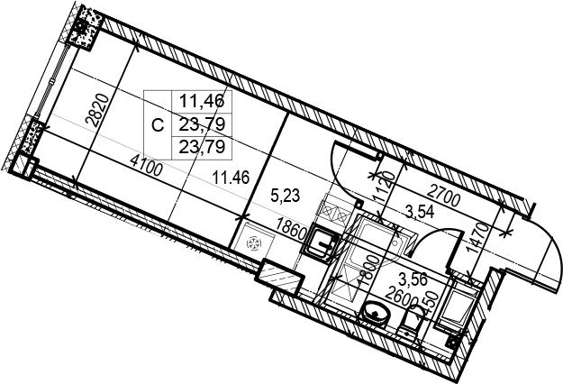 Студия, 23.79 м²