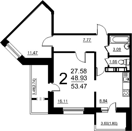 2-к.кв, 58.01 м²