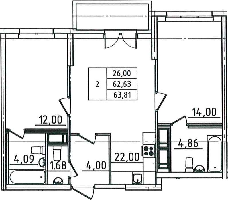 3Е-к.кв, 63.81 м², 8 этаж