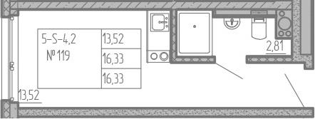 Студия, 16.33 м², 8 этаж