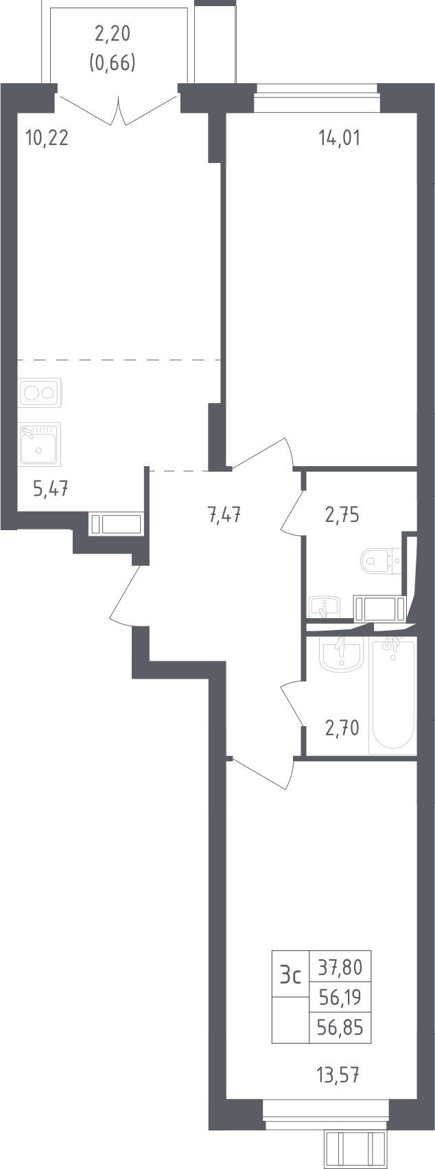 3Е-к.кв, 56.85 м², 13 этаж
