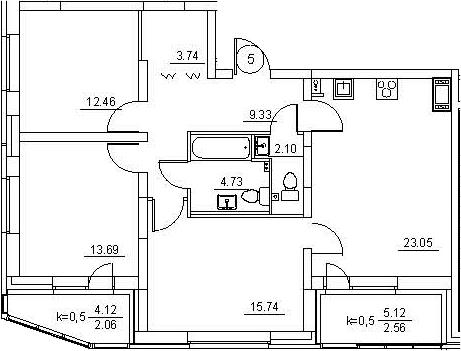 4Е-к.кв, 89.46 м²