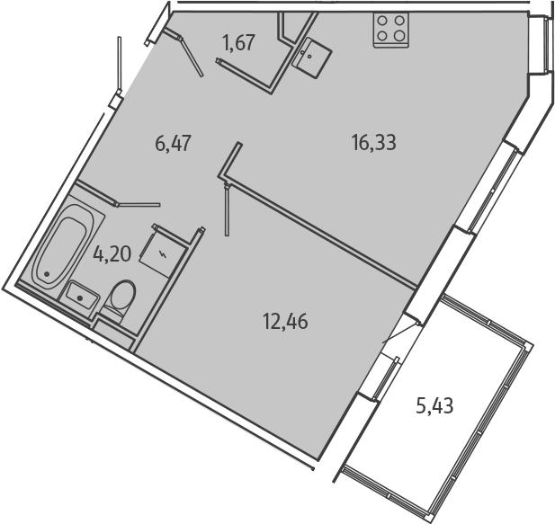 2-к.кв (евро), 46.56 м²