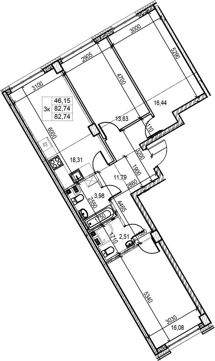 4Е-комнатная, 82.74 м²– 2