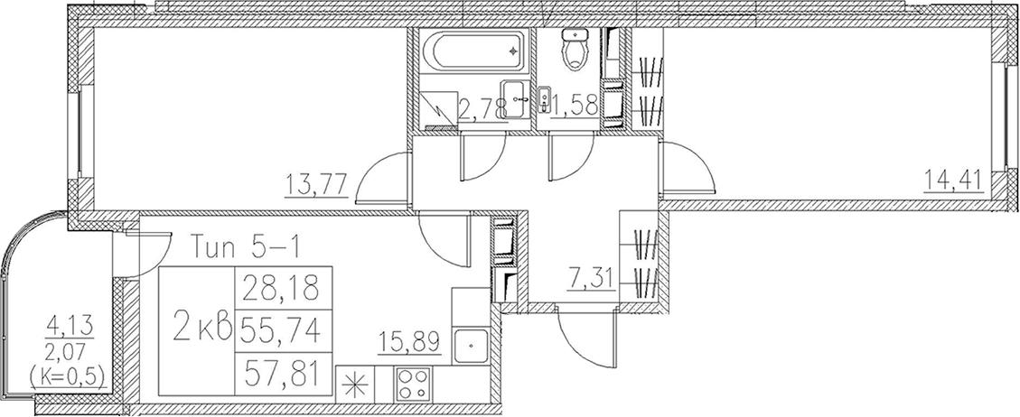 3Е-комнатная, 57.81 м²– 2