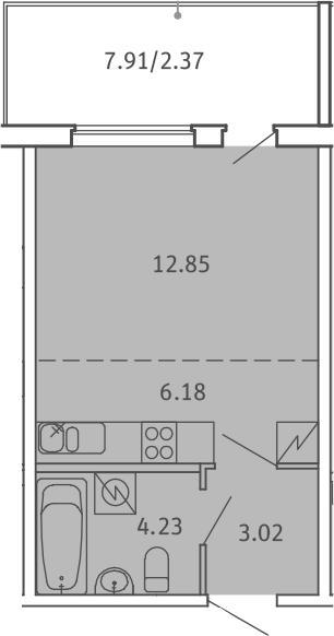 Студия, 28.65 м², 1 этаж