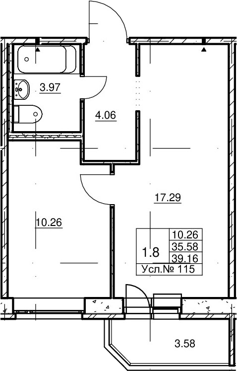 2Е-комнатная, 35.58 м²– 2