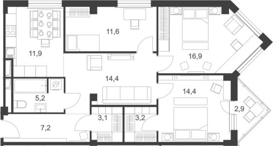 4-к.кв, 94 м²