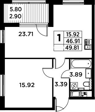 2Е-комнатная, 49.81 м²– 2